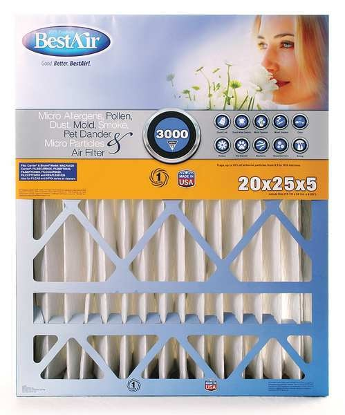 Bestair Pro 20x25x5 Synthetic Furnace Air Cleaner Filter,  MERV 13 CB2025-13C