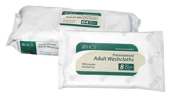 "Hcs Hand and Body Cleaning Wipes,  White,  Pack,  Paper,  64 Wipes,  9"" x 13"" HCS0020"