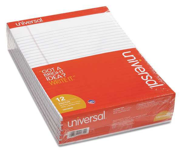 "Universal 8-1/2 x 11-3/4"" Legal Economy Ruled Writing Pad,  50 Pg UNV20630"
