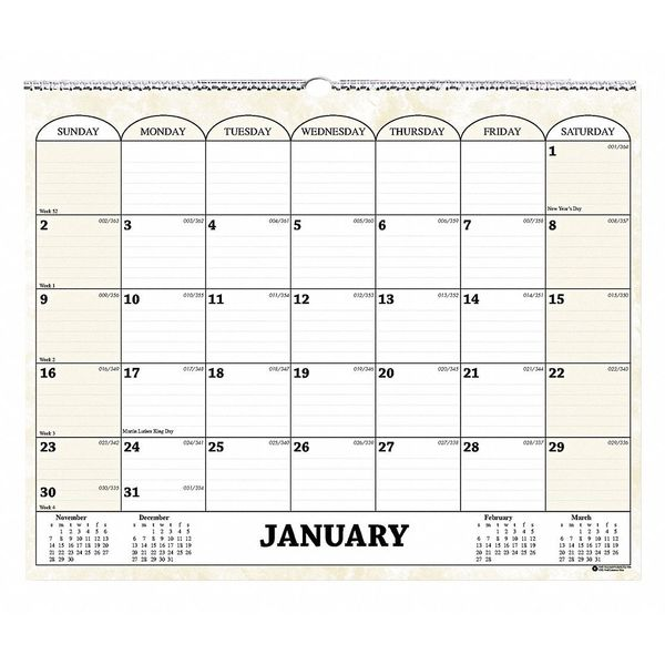House Of Doolittle Monthly Wall Calendar, 15x12 In. HOD319