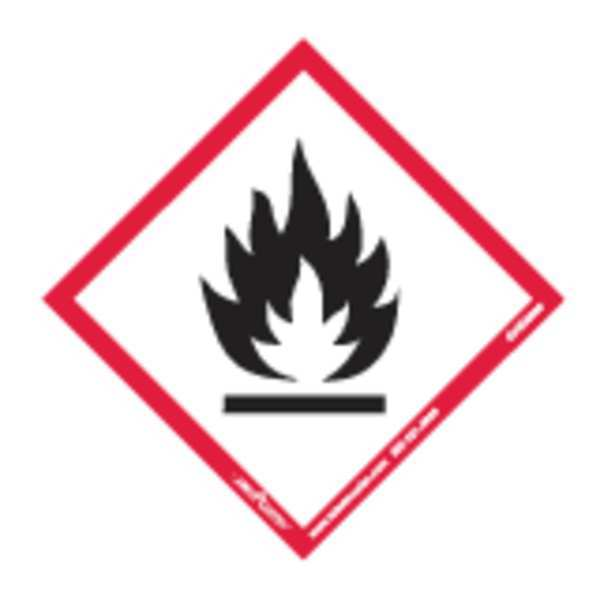 Labelmaster GHS Flame Label, 4inx4in, Polyprop, 100 GHIS0096