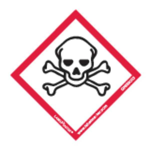 Labelmaster GHS Skull and Crossbones Lbl, 2inx2in, 100 GHIS0083