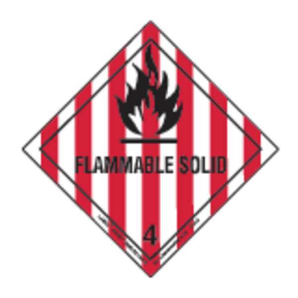 Labelmaster Flammable Solid Lbl, 100mmH, 100 Lbls, 100 HML5C