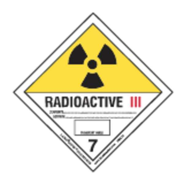 Labelmaster Radioactive Label, 100mmx100mm, Polyprop HMSL16