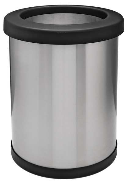 Tough Guy 6 gal. Stainless Steel Round Wastebasket ,  Silver 35ZA62