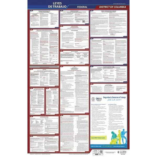 Jj Keller Labor Law Poster, Fed/STA, DC, SP, 26inH, 3yr 400-DC-3