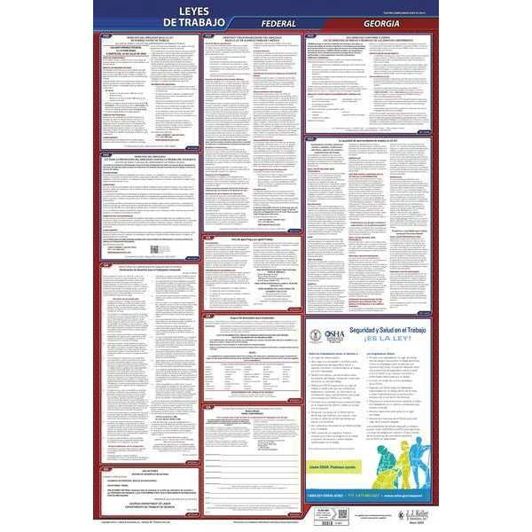 Jj Keller Labor Law Poster, Fed/STA, GA, SP, 26inH, 3yr 400-GA-3