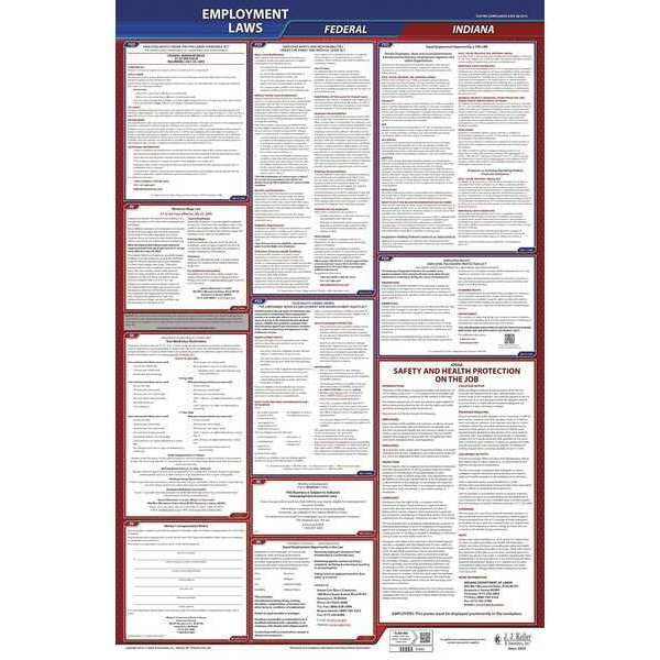 Jj Keller LaborLaw Poster, Fed/STA, IN, ENG, 40Wx26inH 300-IN