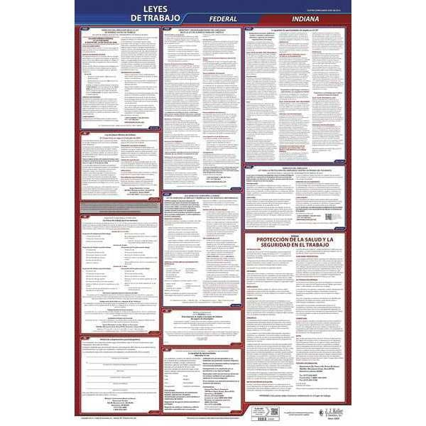 Jj Keller Labor Law Poster, Fed/STA, IN, SP, 26inH, 5yr 400-IN-5