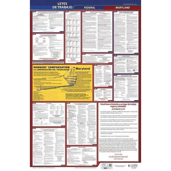 Jj Keller Labor Law Poster, Fed/STA, MD, SP, 26inH, 3yr 400-MD-3