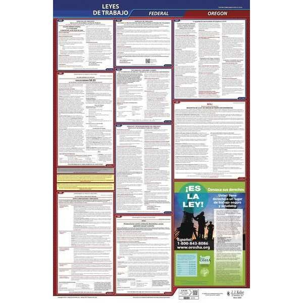 Jj Keller Labor Law Poster, Fed/STA, OR, SP, 26inH, 3yr 400-OR-3