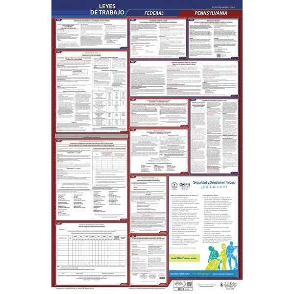 Jj Keller Labor Law Poster, Fed/STA, PA, SP, 26inH, 3yr 400-PA-3