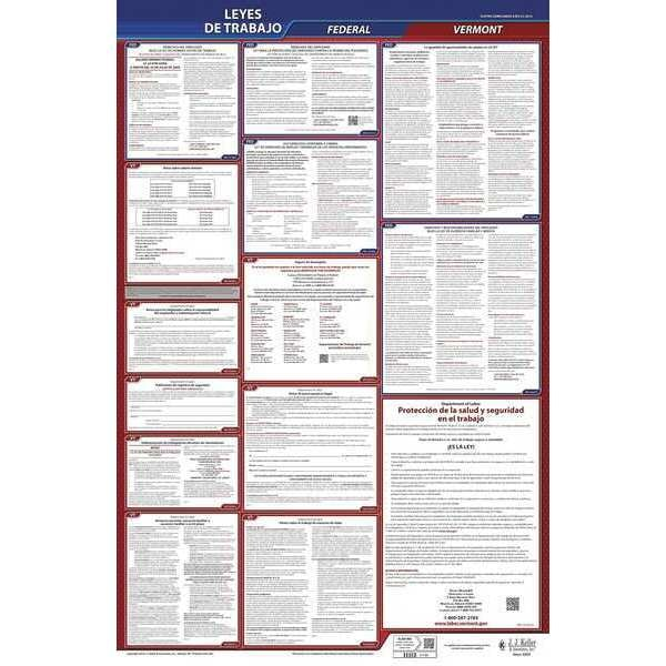 Jj Keller Labor Law Poster, Fed/STA, VT, SP, 26inH, 1yr 400-VT-1