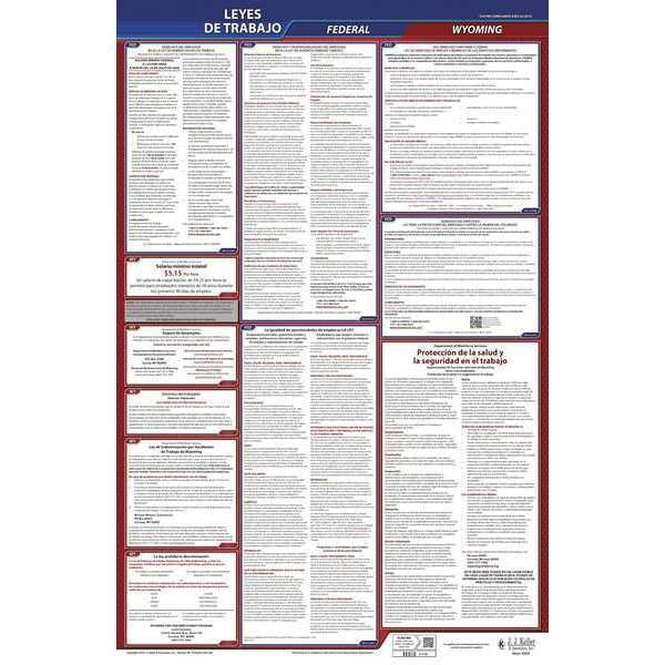 Jj Keller Labor Law Poster, Fed/STA, WY, SP, 26inH, 5yr 400-WY-5