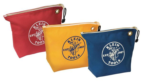 "Klein Tools Tool Bag Set,  #8 Canvas,  1 Pockets,  Blue/Red/Yellow,  8"" Height 5539CPAK"