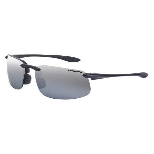 Crossfire Safety Glasses,  Wraparound Silver Mirror Polycarbonate Lens,  Scratch-Resistant 2123