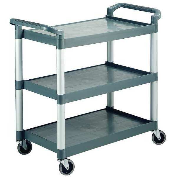 "Zoro Select Poly Materials Raised Handle Utility Cart 265 lb. Capacity,  24-1/2""L x 16-1/8""W x 36""H RTROLLEY"