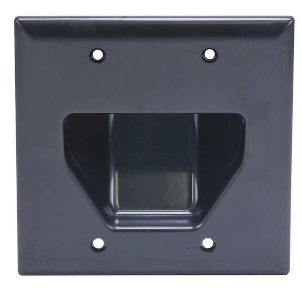 Monoprice Wall Plate, Cable, Recessed, 2G, Blk 3998