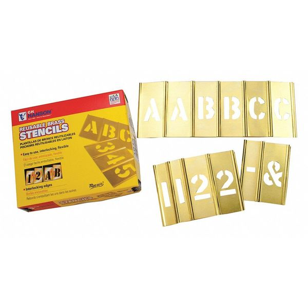 C.H. Hanson Brass Stencil Set Of 4 Number/Letters 10114
