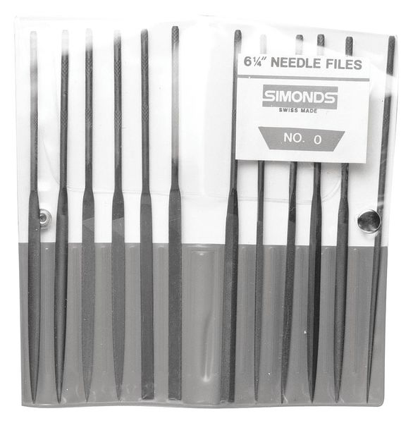 Simonds Needle File Set, 4in.L, Swiss, Natural 83494600