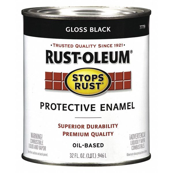 Rust-Oleum 1 qt. Black Glossy Oil Enamel Paint 7779502