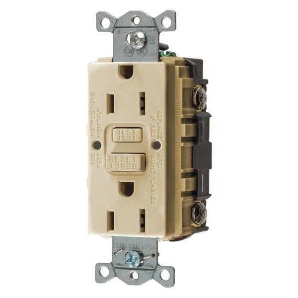 Hubbell Wiring Device-Kellems GFCI Receptacle, 15A, 125VAC, 5-15R, Ivory GFRST15I
