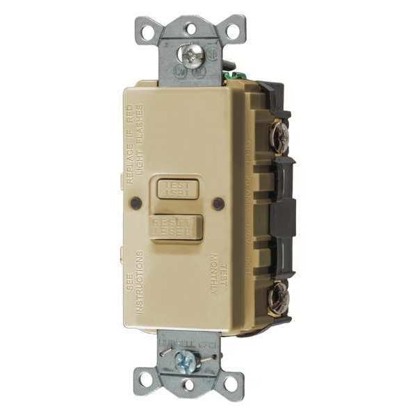 Hubbell Wiring Device-Kellems GFCI Receptacle, 20A, 125VAC, 5-20R, Ivory GFBFST20I