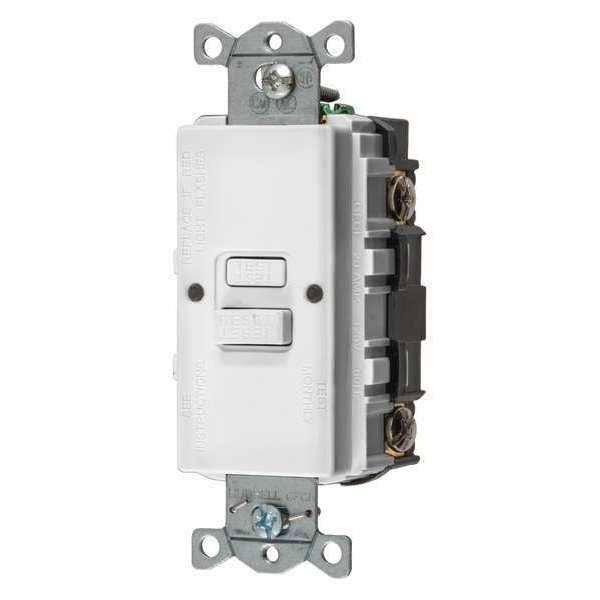Hubbell Wiring Device-Kellems GFCI Receptacle, 20A, 125VAC, White GFBFST20W
