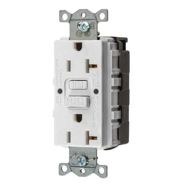 Hubbell Wiring Device-Kellems GFCI Receptacle,  20A,  125VAC,  5-20R,  White,  Outlet Type: Decorator GFRST20SNAPW