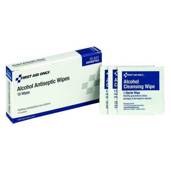 First Aid Only Alcohol Prep Pads, 1-1/4 x 2-1/4 In, PK10 12-011