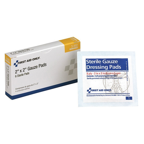 First Aid Only Gauze Pad,  Sterile,  White,  No,  Gauze,  PK6 3-002