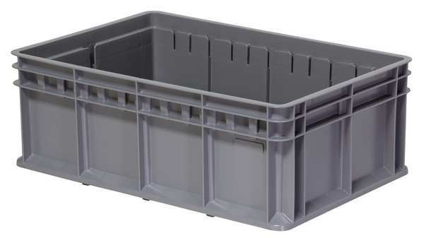 Akro-Mils Gray Straight Wall Container 23 5/8 in x 15 3/4 in x 8 5/8 in H,  1 PK 38358GRY