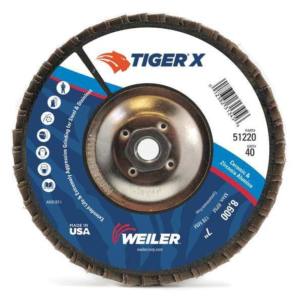Weiler Flap Disc, 7 in. x 40 Grit, 5/8-11,  98920