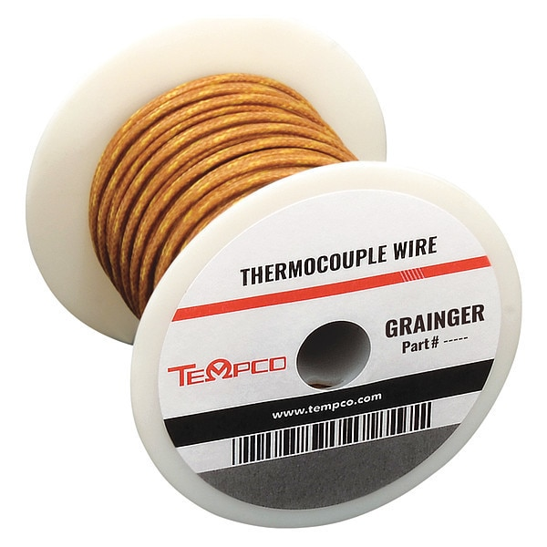 Tempco Thermocouple Lead Wire, J, 24AWG, Sol, 100Ft TCWR-1013