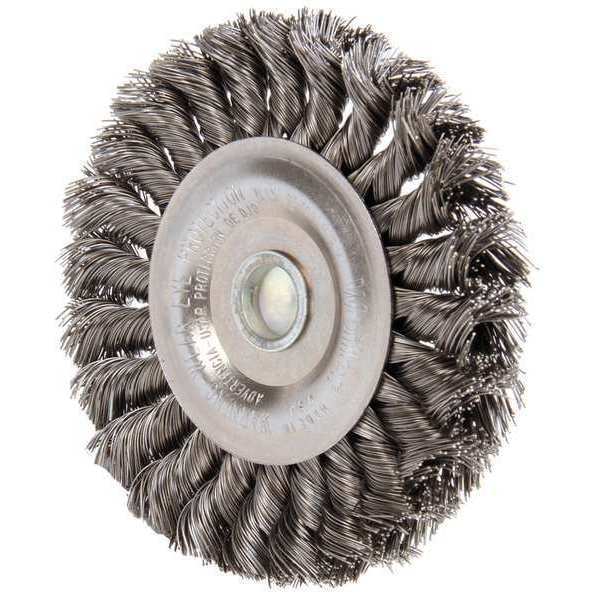"Weiler Knot Wire Wheel Wire Brush,  Stem,  0.014"" 94106"