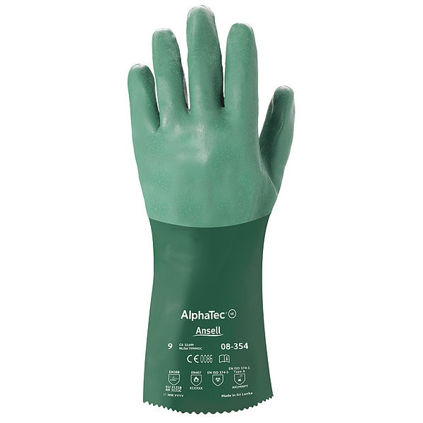 "Ansell 14"" Chemical Resistant Gloves,  Neoprene,  10,  1 PR 08-354"