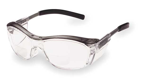 3M Nuvo™ Reader Safety Glasses,  Clear Lens,  Gray Frame,  +2.0 Diopter 11435-00000-20