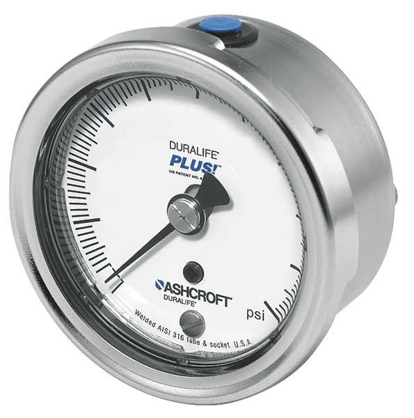Ashcroft Pressure Gauge, 0 to 30 psi, 2-1/2In, 1/4In 251009SW02BX6B30