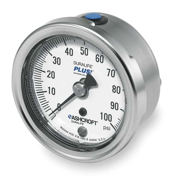 Ashcroft Pressure Gauge, 0 to 100 psi, 2-1/2In 251009SW02BX6B100