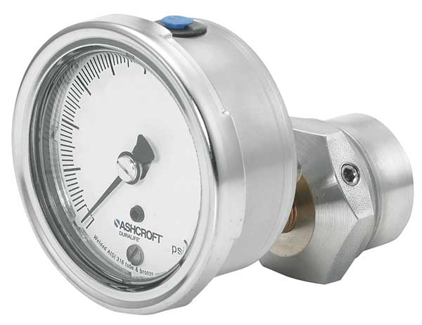 Ashcroft Pressure Gauge, 0 to 30 psi, 2-1/2In, 1/4In 251009AW02B/310SSLXCG30