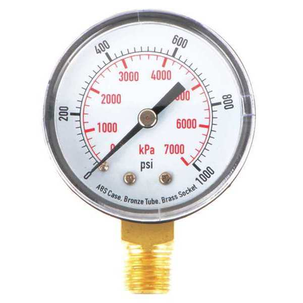 Zoro Select Pressure Gauge, Test, 2 In 4EFA5