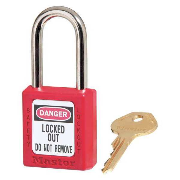 """Master Lock 1-1/2"""" Red Thermoplastic Safety Padlock,  with 1-1/2"""" Shackle 410RED"""