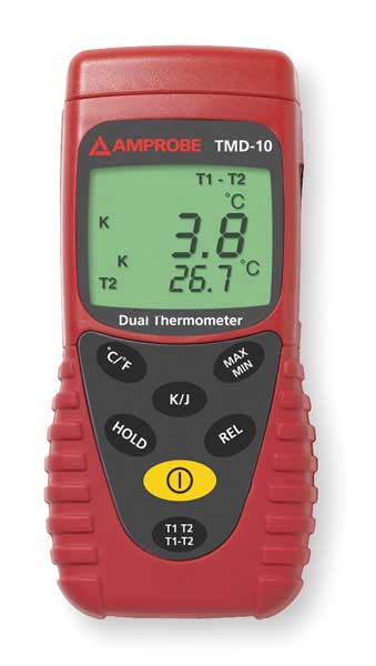 Amprobe Thermocouple Thermometer, 2 In, Type J,  K TMD-10