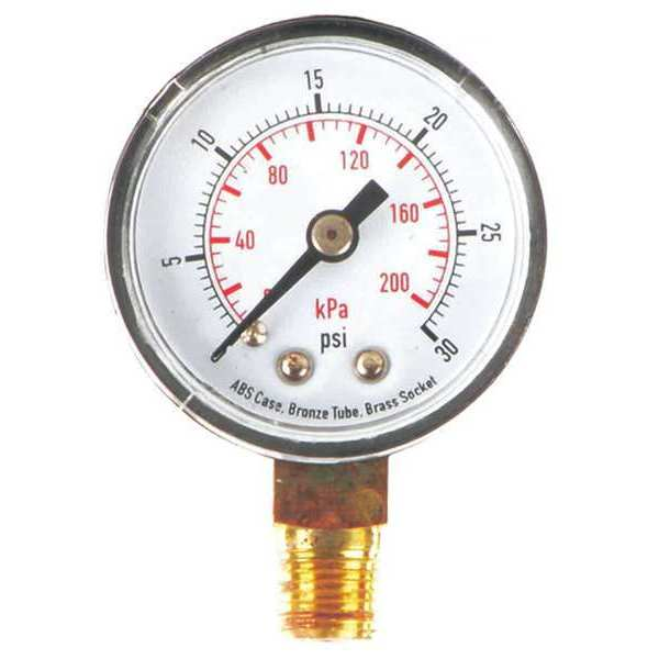 Zoro Select Pressure Gauge, Test, 1-1/2 In 4FLP9