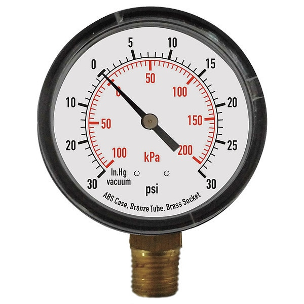 Zoro Select Compound Gauge, Test, 3-1/2 In 4FLX4