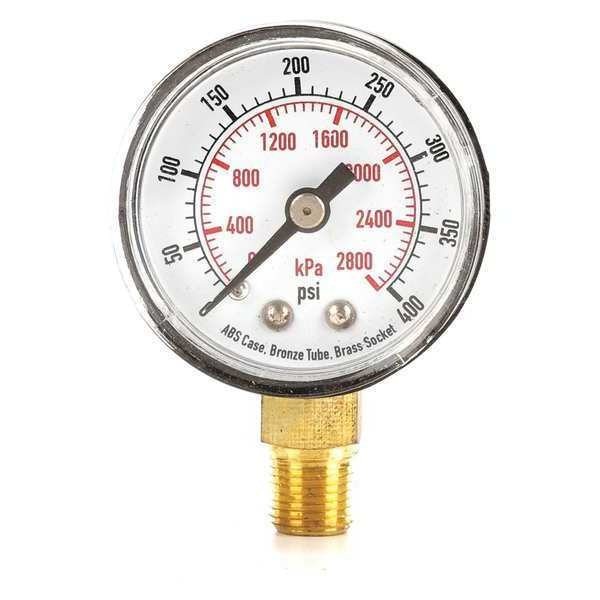 Zoro Select Pressure Gauge, Test, 1-1/2 In 4FLR6