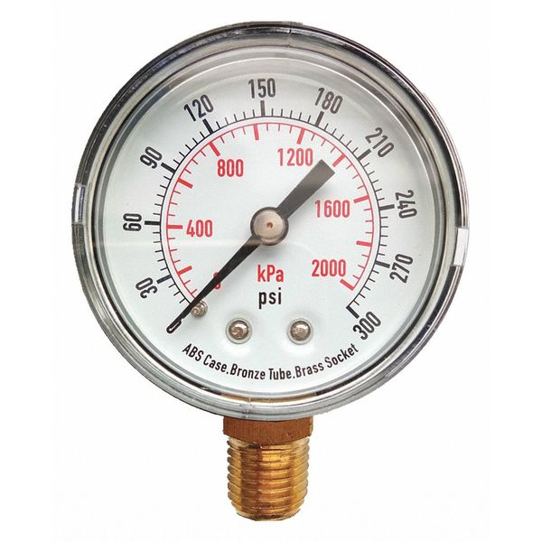 Zoro Select Pressure Gauge, Test, 2 In 4FLU4