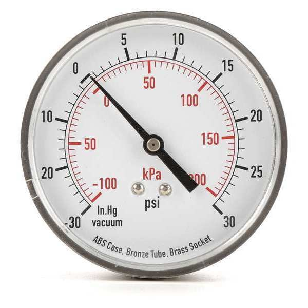 Zoro Select Compound Gauge, Test, 3-1/2 In 4FMF9