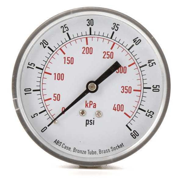 Zoro Select Pressure Gauge, Test, 3-1/2 In 4FMG3