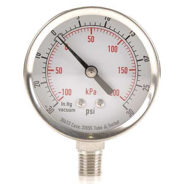 Zoro Select Compound Gauge, Test, 2-1/2 In 4FML9